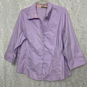Caslon Lavender 2X Plus Button up Stretch Top 3/4